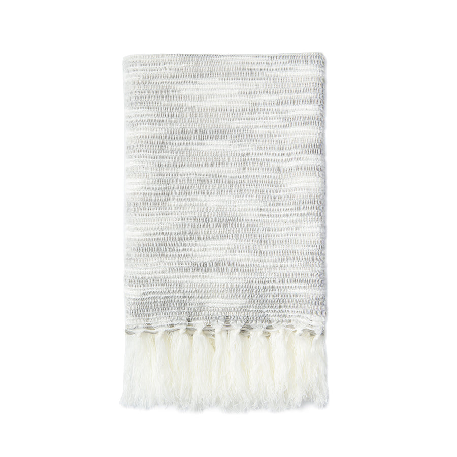 Modern Decorative Knitted Throw Blanket with Tassels, Gray and White, 50