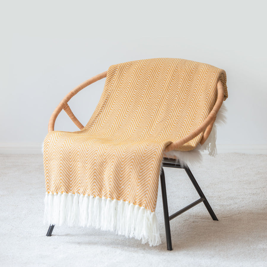 Classic Knitted Throw Blanket with Fringes, Neda, Herringbone Stripes, Mustard Yellow, 50