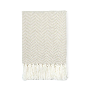 Classic Knitted Throw Blanket with Fringes, Neda, Herringbone Stripes, Ivory Beige, 50