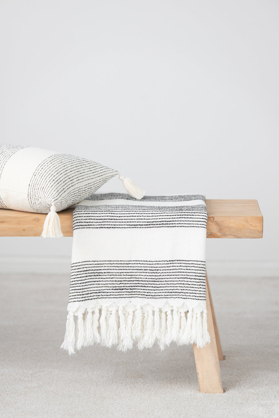 Modern Boho Throw Blanket, Moroccan Ticking Stripes, 50