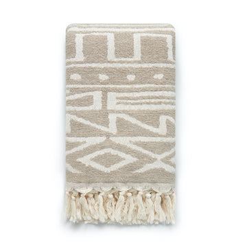 Modern Boho Throw Blanket, Khaki Tribe Geo, 55