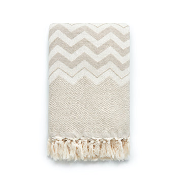Classic Throw Blanket, Khaki Diamond ZigZag, 55