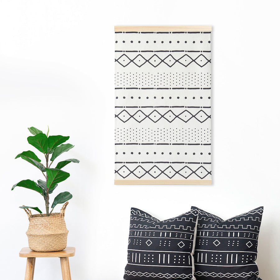 Boho Wall Hanging, Mudcloth Inspired, African, 31