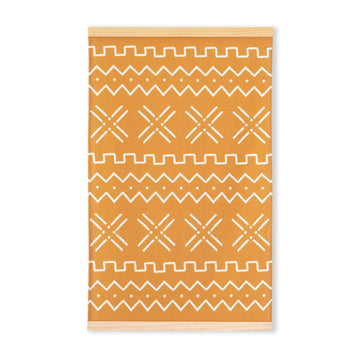 Boho Wall Hanging, Mudcloth Inspired, Mustard Yellow, 31