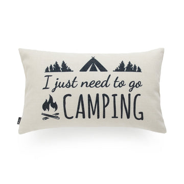 Hofdeco I Just Need to Go Camping Linen Lumbar Pillow Cover 12
