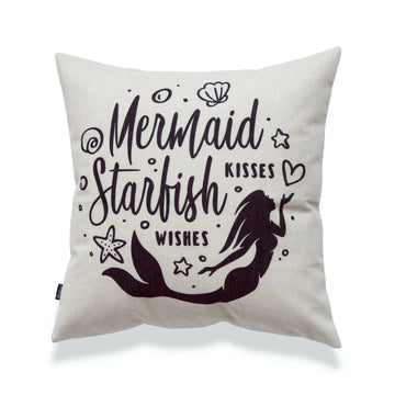 Coastal Pillow Cover, Mermaid Kisses Starfish Wishes, 18
