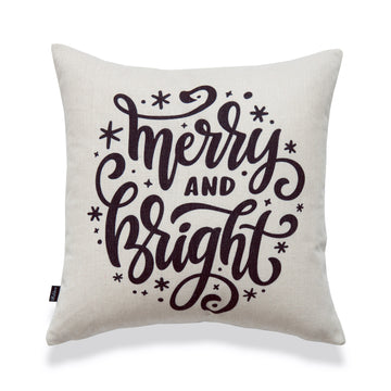 Holiday Pillow Cover, Merry and Bright, 18