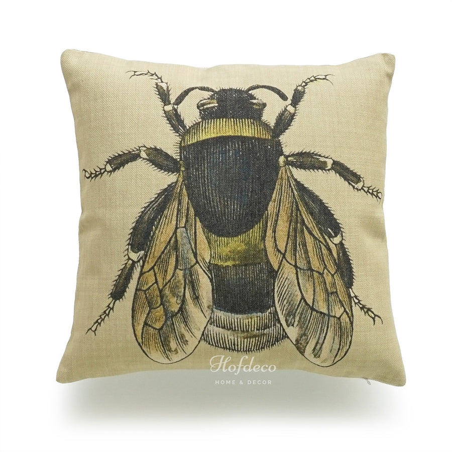 French Country Honey Bee Illustration Pillow Cover