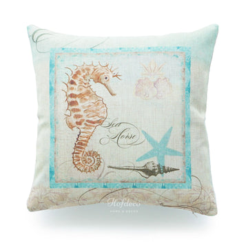 Vintage Sea Life Aqua Sea Horse Pillow Cover