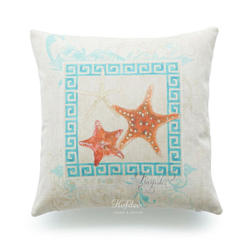 Vintage Sea Life Aqua Starfish Pillow Cover