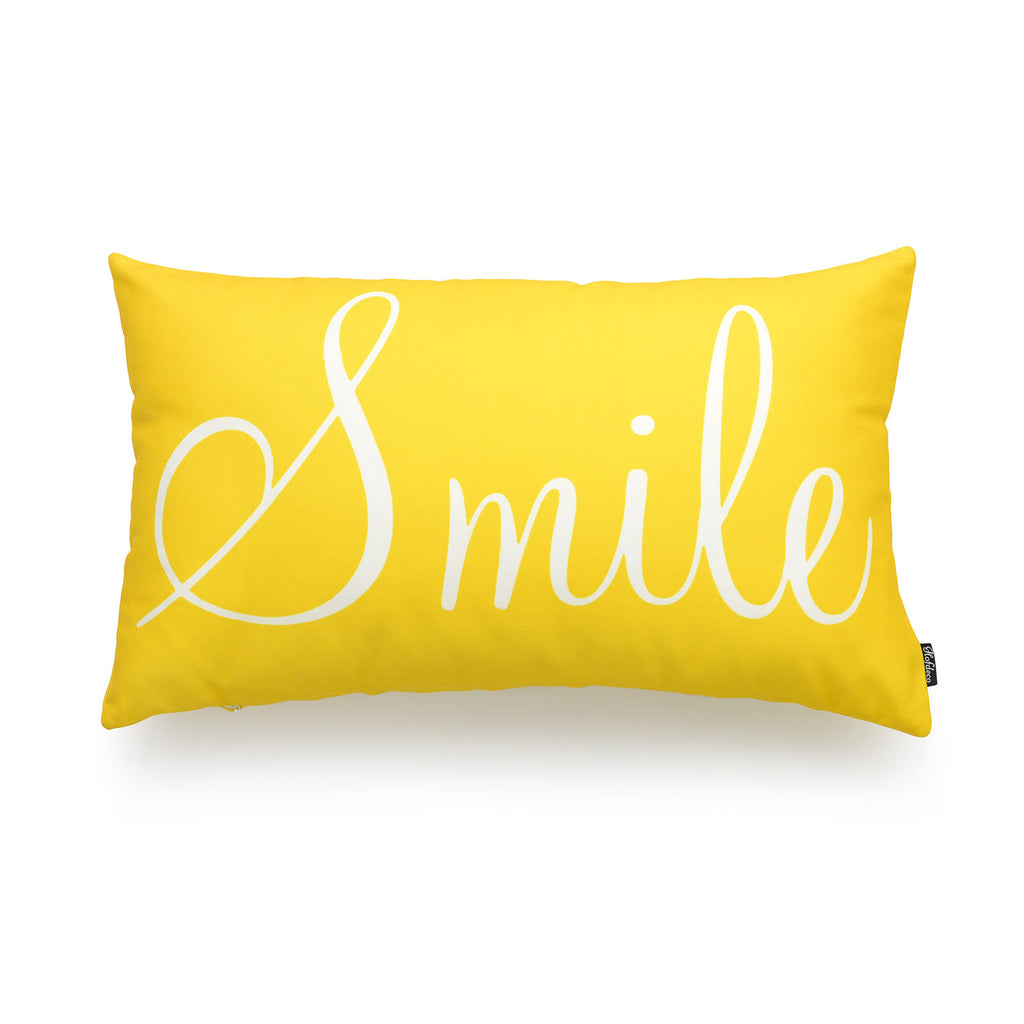 Vibrant Yellow Smile Lumbar Pillow Cover | Hofdeco