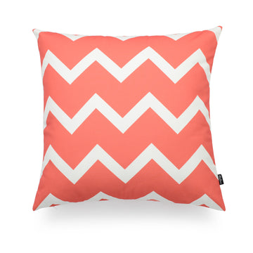 Geometric Coral Pink Chervon Zigzag Pillow Cover