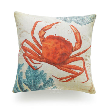 Vintage Sea Life Red Crab Pillow Cover
