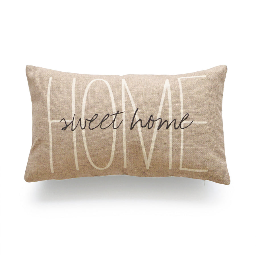 Rustic Home Sweet Home Lumbar Pillow Cover, Tan, 12