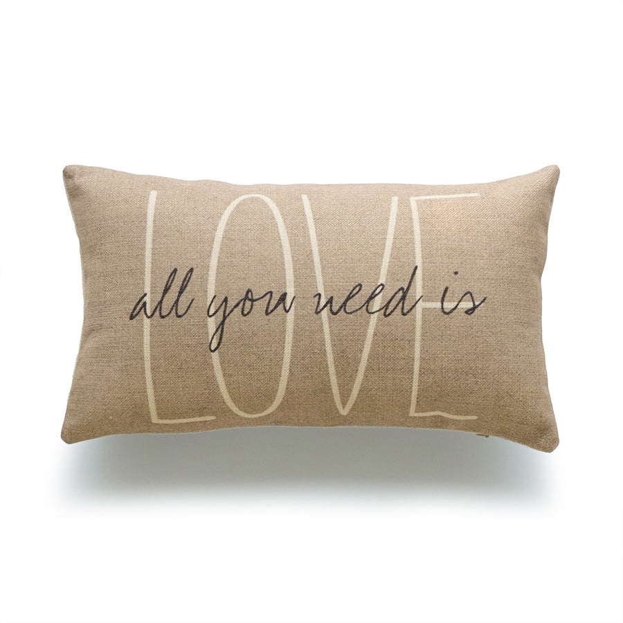 Rustic All you need is Love Lumbar Pillow Cover, Tan, 12
