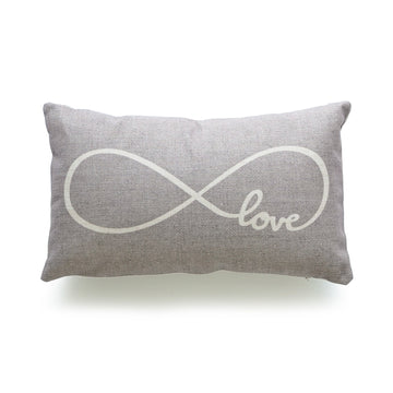 His and Her Gray Infinite Love Lumbar Pillow Cover