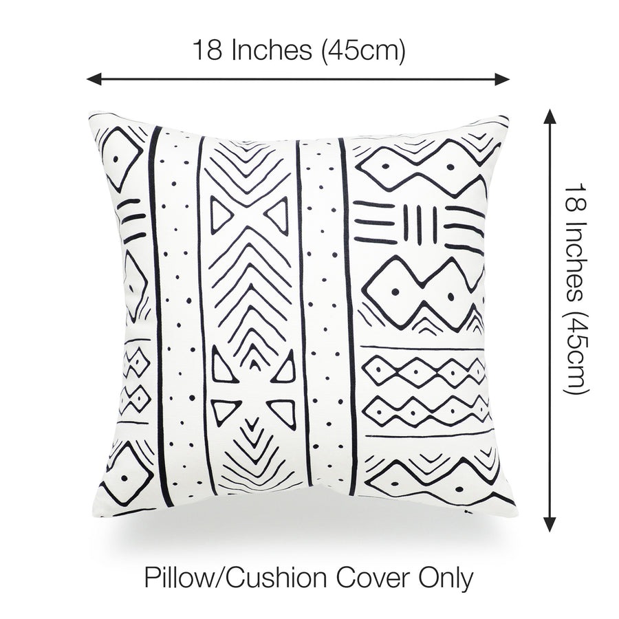 Mud Cloth Pillow Cover, Arrows and Stripes, Natural, Single Sided, 18