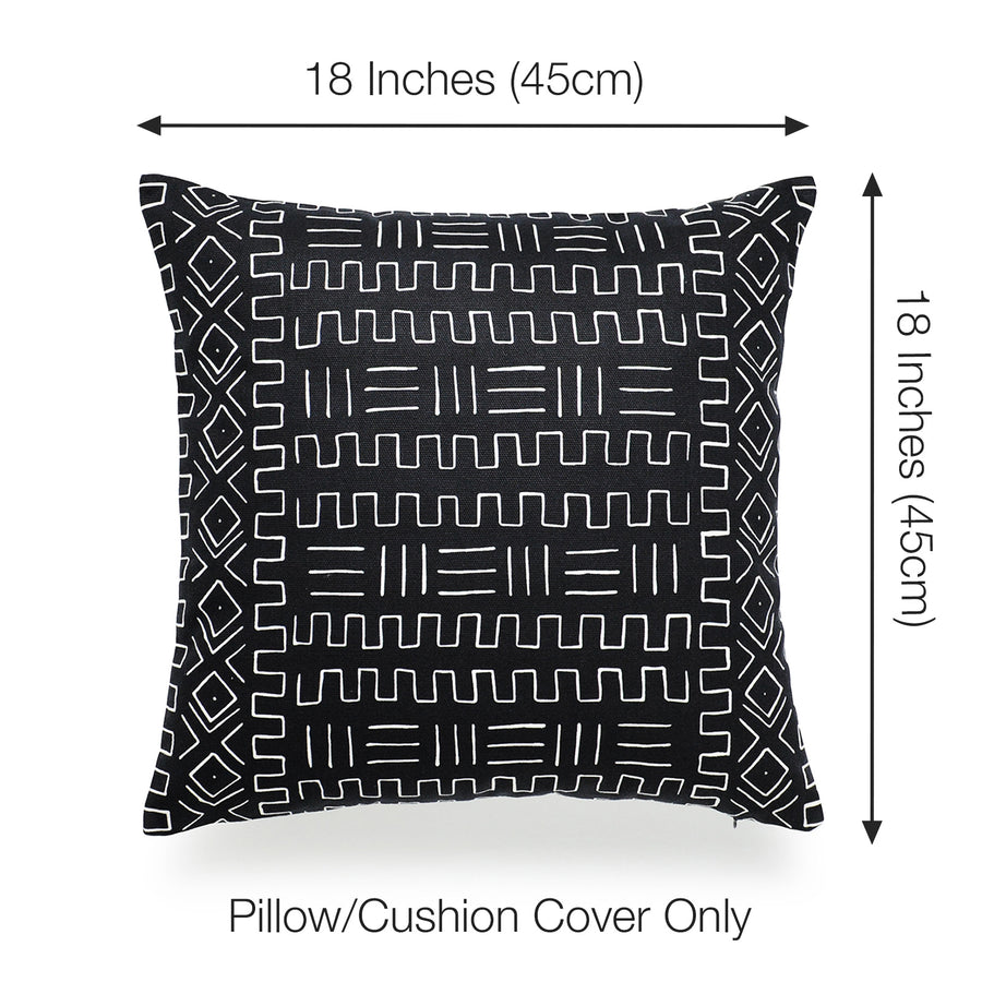 Mudcloth Pillow Cover, Tribal Ethnic, Black, Single Sided, 18