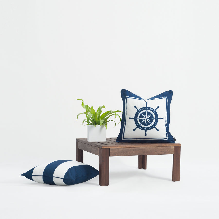 Nautical Outdoor Pillow Cover, Ship Wheel, Navy Blue, 18