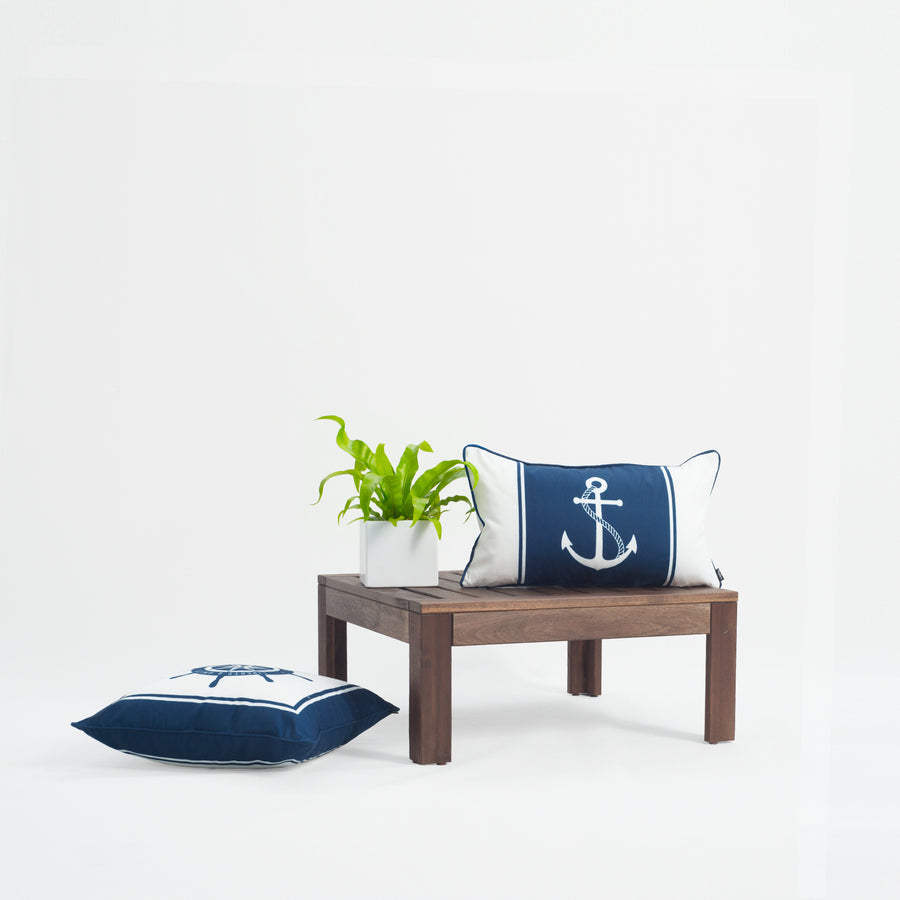 Nautical Outdoor Lumbar Pillow Cover, Anchor, Navy Blue, 12