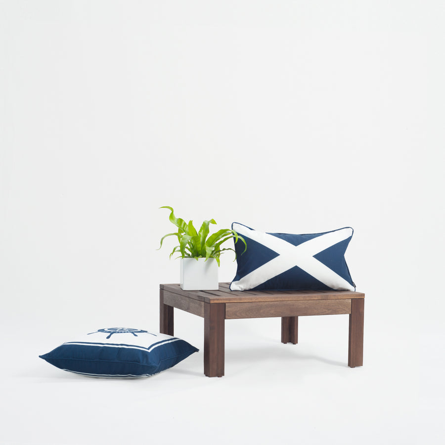 Nautical Outdoor Lumbar Pillow Cover, X Flag, Navy Blue, 12