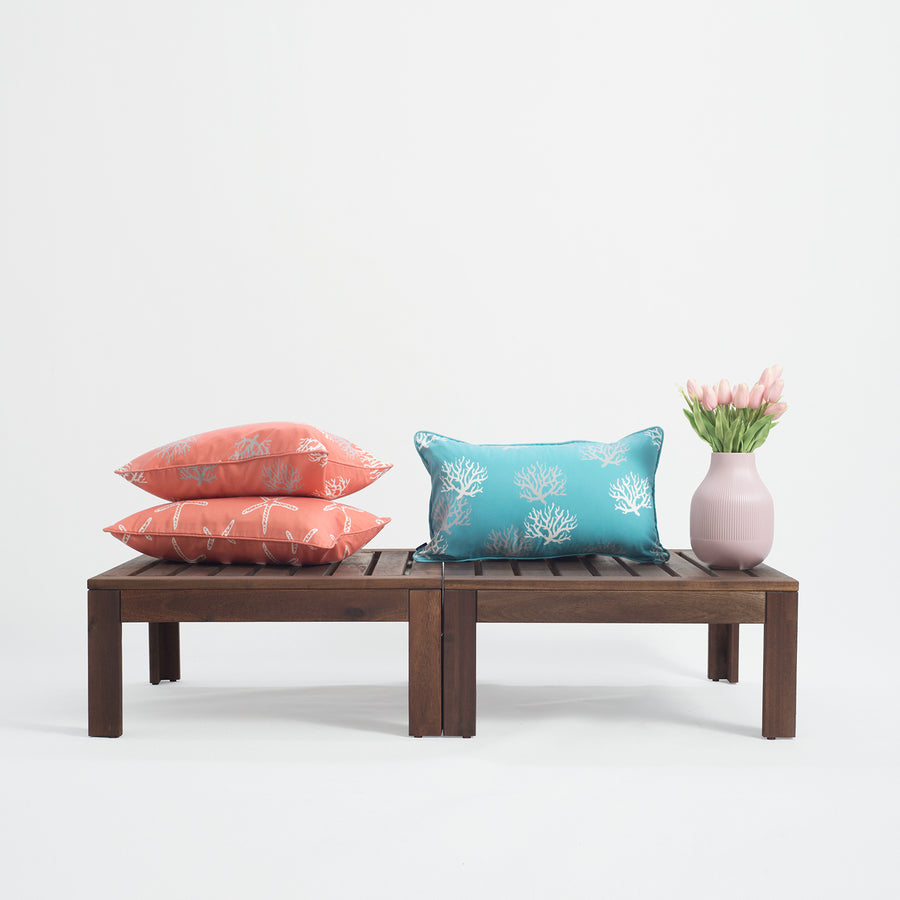 Beach Outdoor Lumbar Pillow Cover, Coral, Aqua, 12
