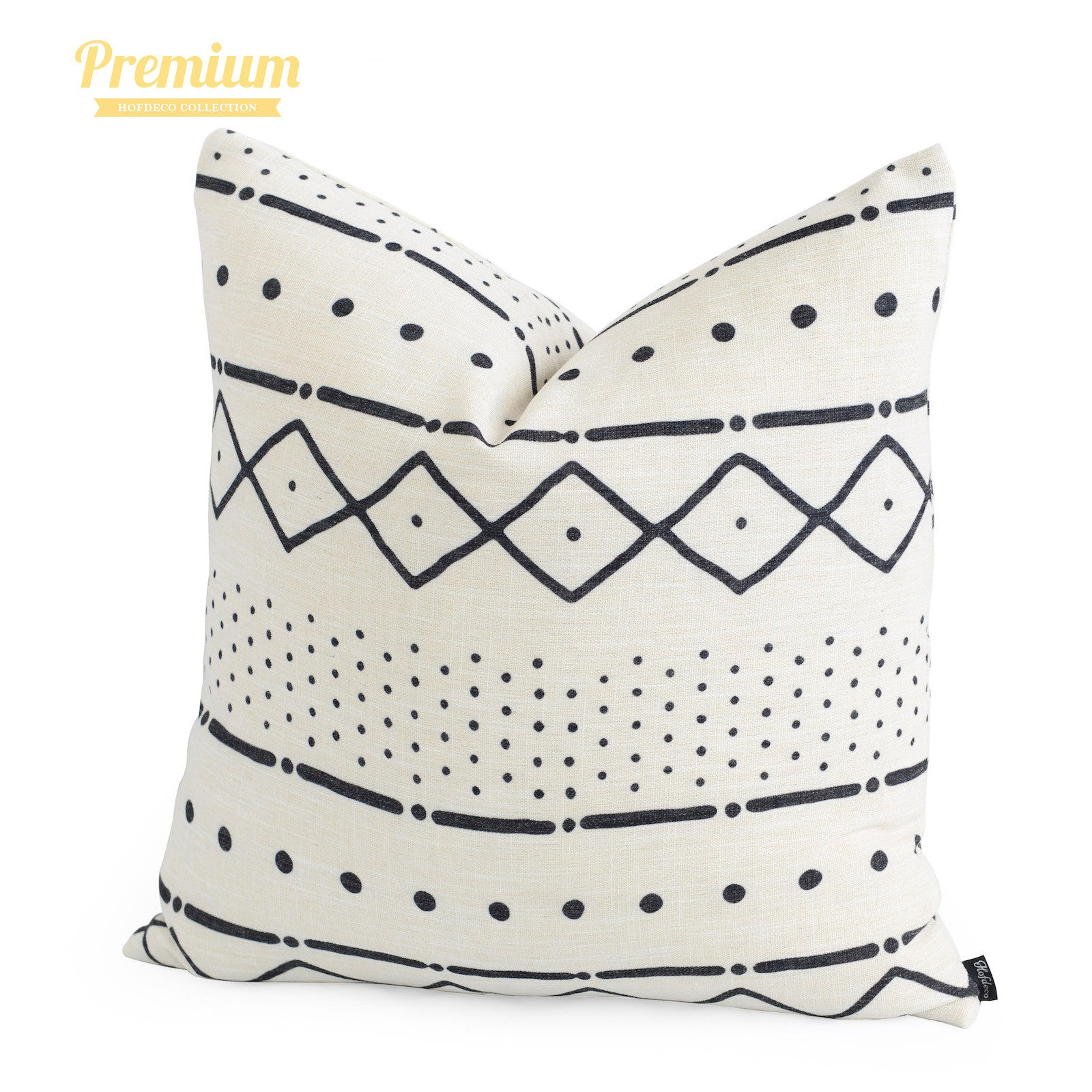 """African Mud Cloth Pillow Cover, Dots And Dashes, Natural, Double Sided, 20""""x20"""""""