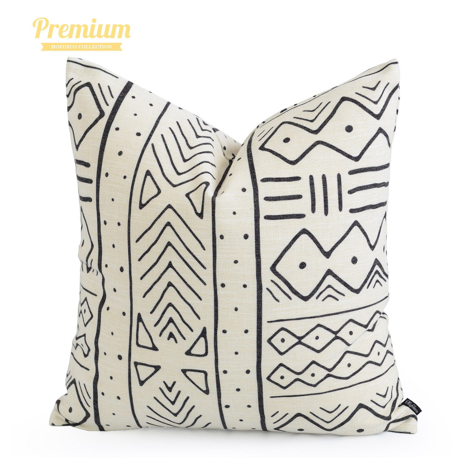 """African Mud Cloth Pillow Cover, Arrows And Stripes, Natural, Double Sided, 20""""x20"""""""