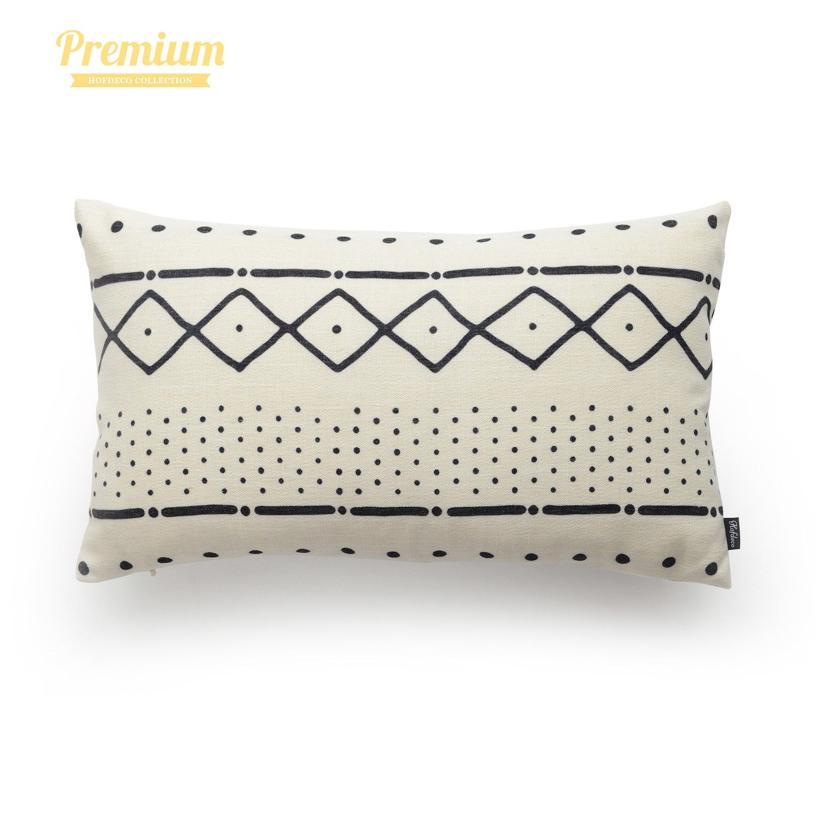 """African Mud Cloth Lumbar Pillow Cover, Dots And Dashes, Natural, Double Sided, 12""""x20"""""""