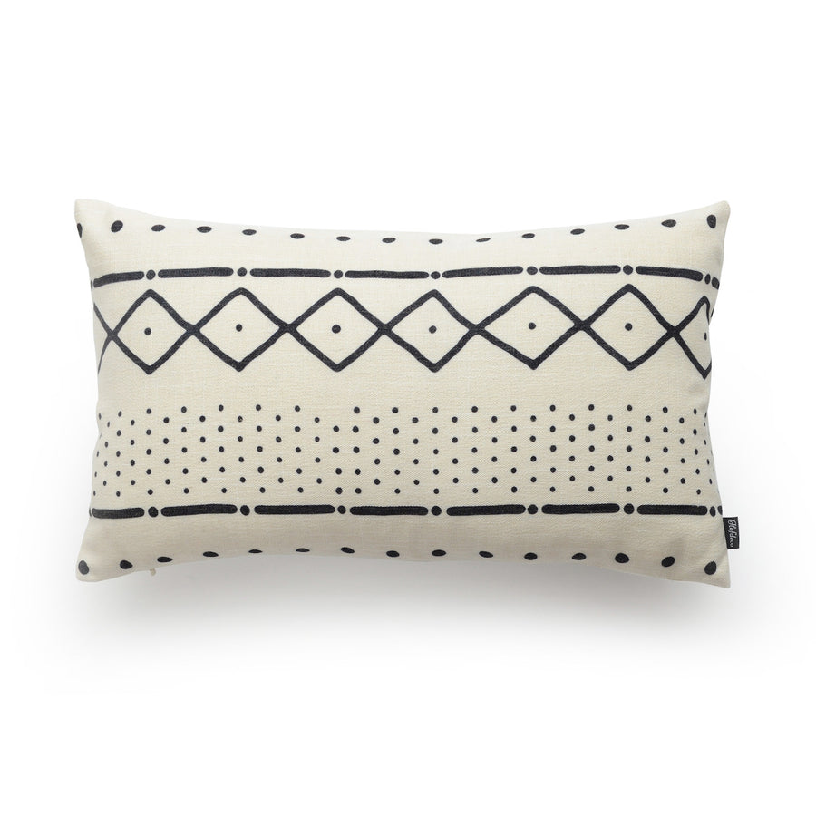 White mudcloth pillow cover