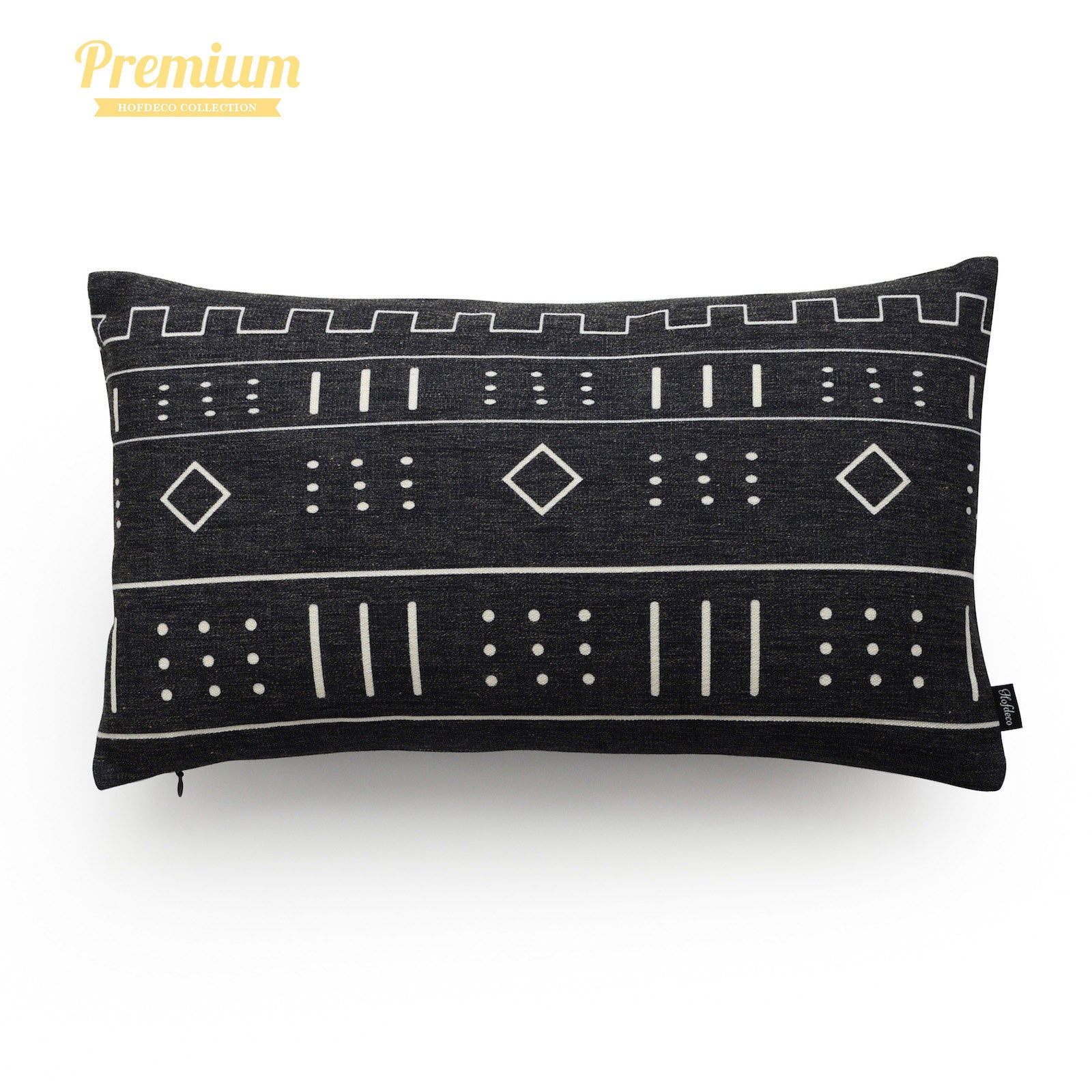 """African Mud Cloth Lumbar Pillow Cover, Dots And Dashes, Black, Double Sided, 12""""x20"""""""