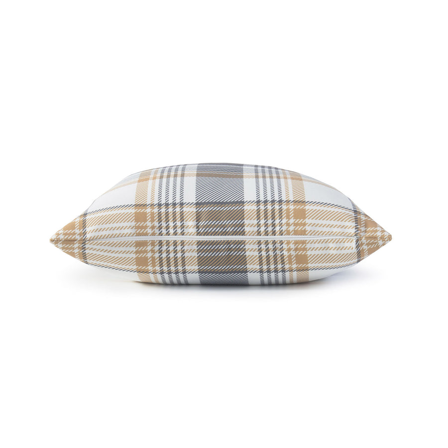 Harvest Pillow Cover, Tartan Plaid, Gold Gray, 18