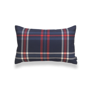 Holiday Lumbar Pillow Cover, Tartan Plaid, Navy Blue, 12