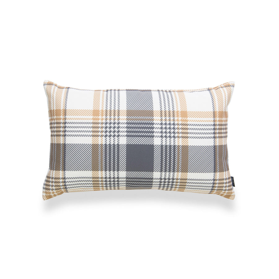 Harvest Lumbar Pillow Cover, Tartan Plaid, Gold Gray, 12