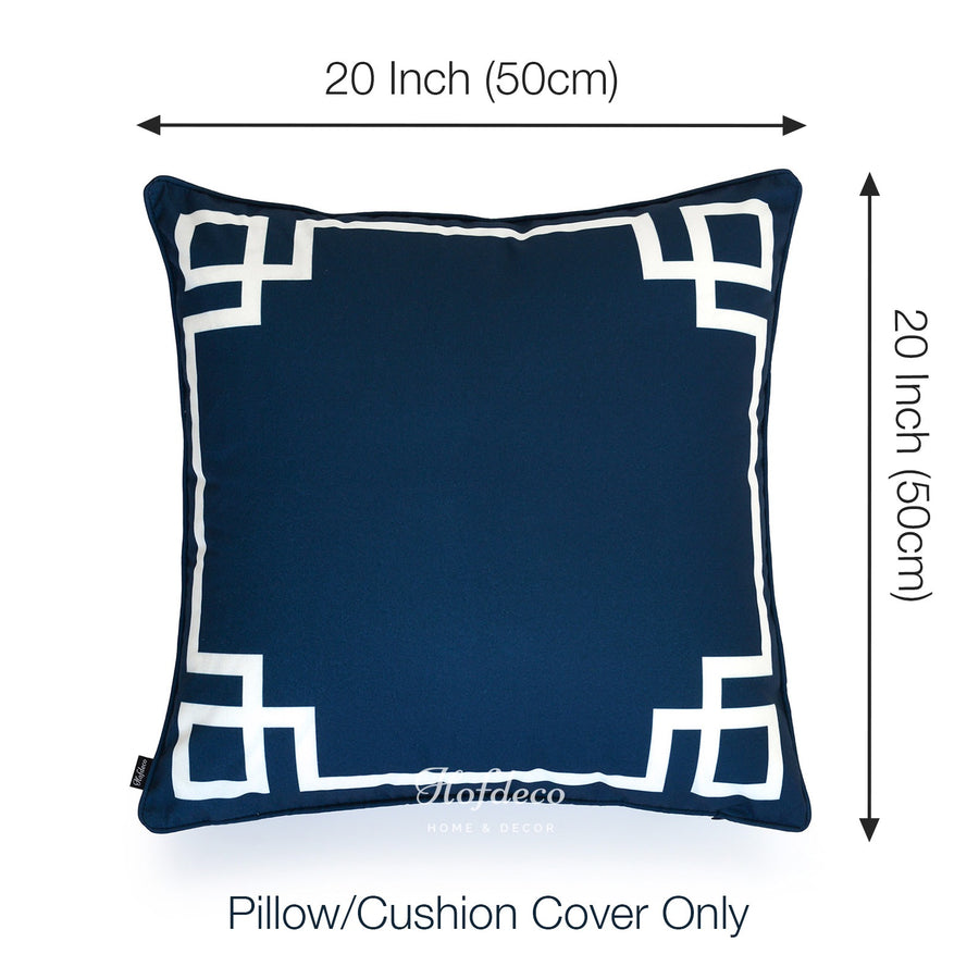 Strange Navy Blue Outdoor Pillow Cover Greek Key 20X20 Pabps2019 Chair Design Images Pabps2019Com