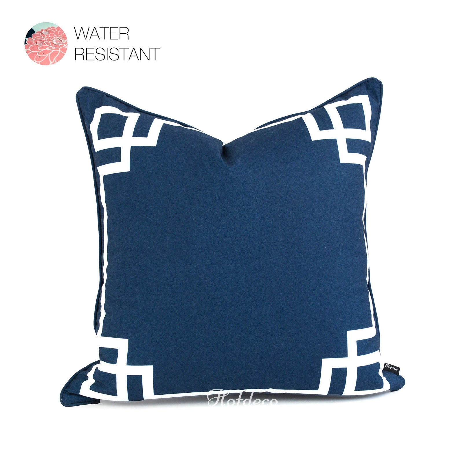 Wondrous Navy Blue Outdoor Pillow Cover Greek Key 20X20 Pabps2019 Chair Design Images Pabps2019Com
