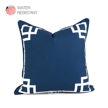 Hofdeco Navy Blue Greek Key Outdoor Pillow Cover 20