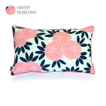Hofdeco Navy Pink Chinoiserie Floral Outdoor Lumbar Pillow Cover 12