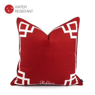Red Outdoor Pillow Cover, Greek Key, 20