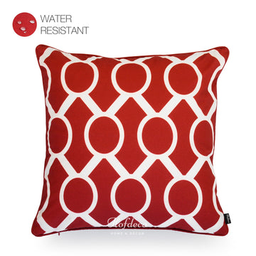 Red Outdoor Pillow Cover, Chain Link, 18