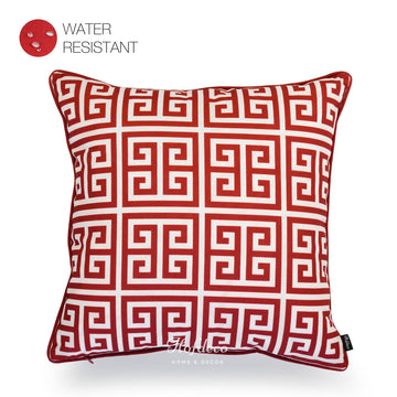 Red Outdoor Pillow Cover, Greek Key, 18