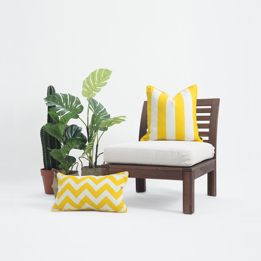 Yellow Outdoor Pillow Cover, Stripes, 18