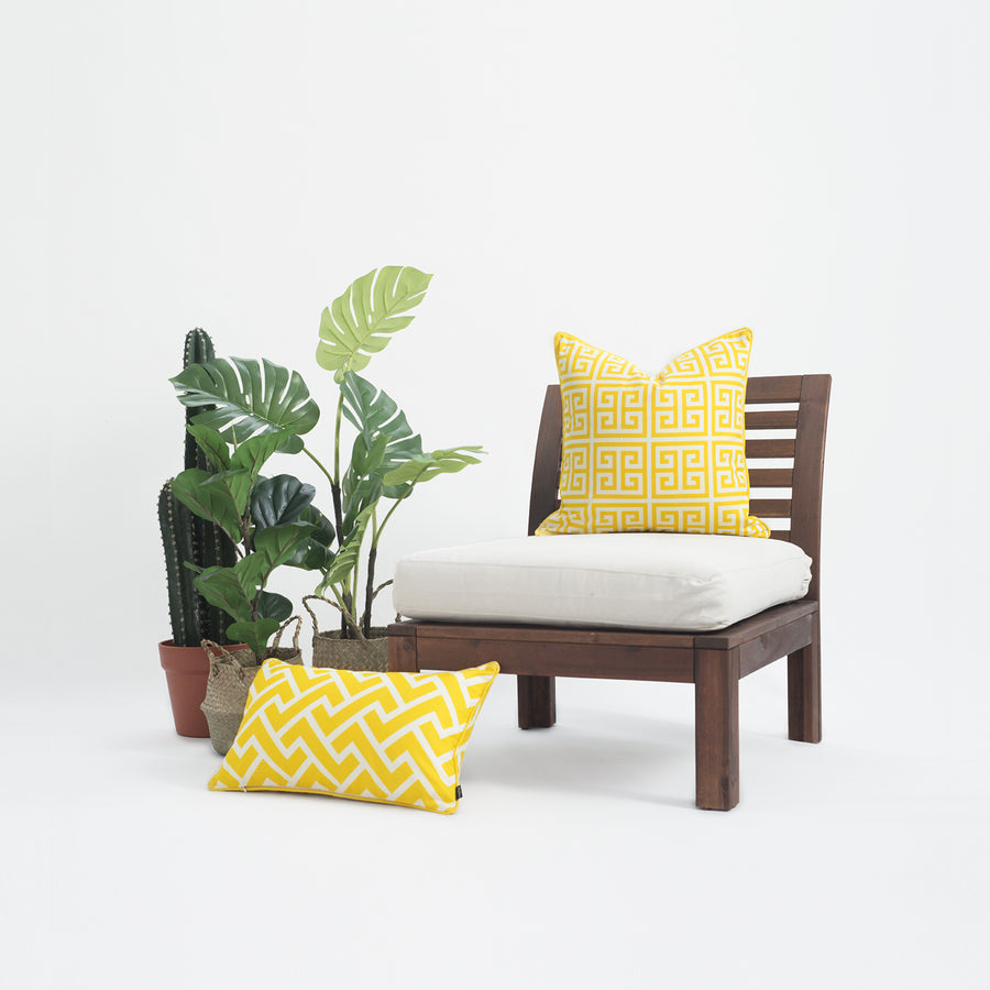 Yellow Outdoor Pillow Cover, Greek Key, 18