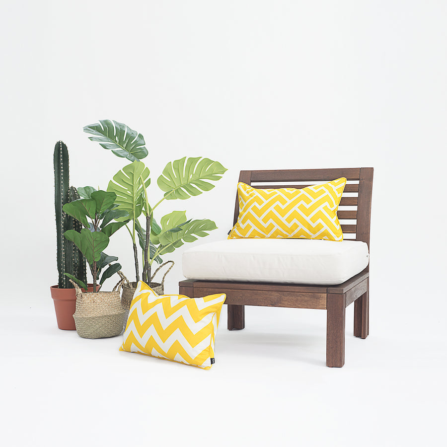 Yellow Outdoor Lumbar Pillow Cover, City Maze, 12
