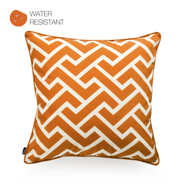 Hofdeco Orange Outdoor Pillow Cover, City Maze, 18