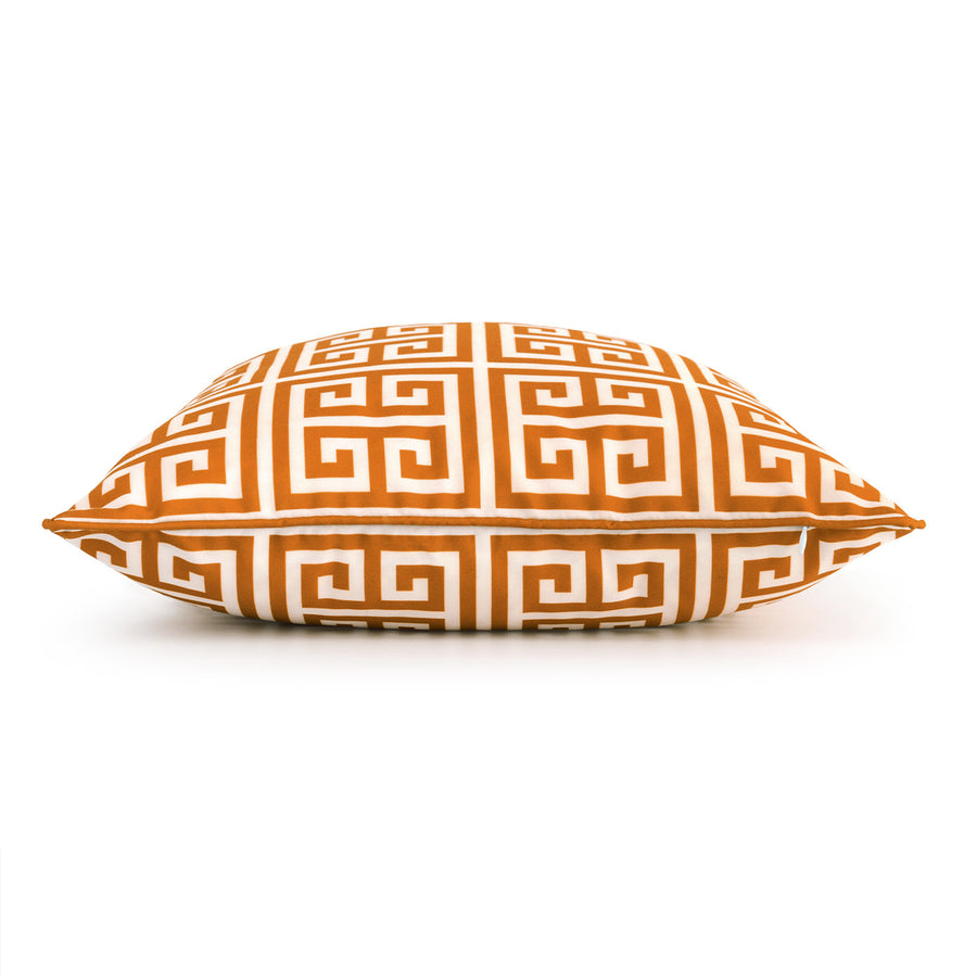 Orange Outdoor Pillow Cover, Greek Key, 18