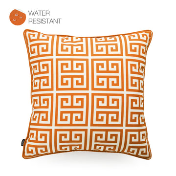 Hofdeco Orange Outdoor Pillow Cover, Greek Key, 18