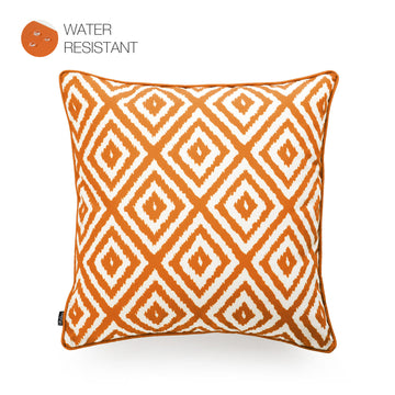 Hofdeco Orange Outdoor Pillow Cover, Ikat Diamond, 18