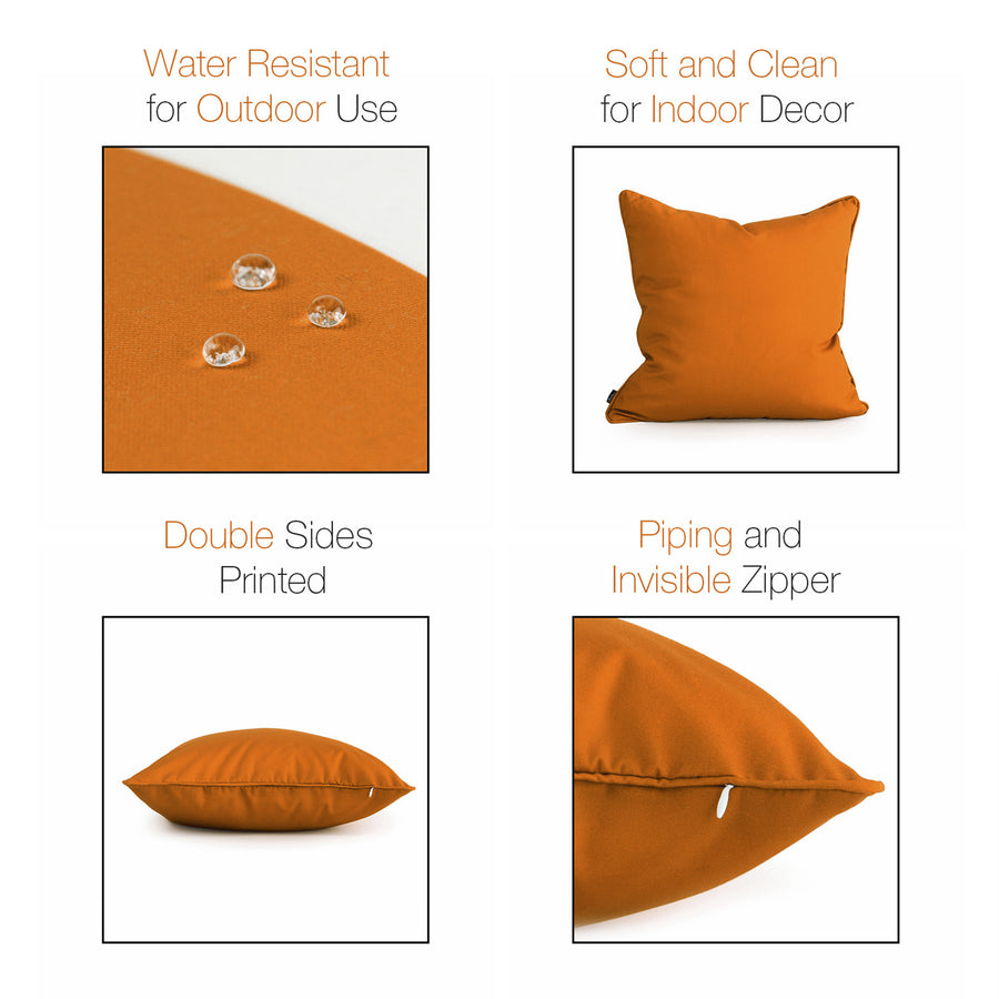 Orange Outdoor Pillow Cover, Solid, 18