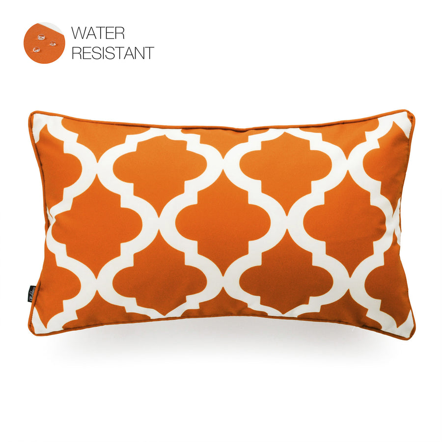 Hofdeco Orange Outdoor Lumbar Pillow Cover, Moroccan, 12